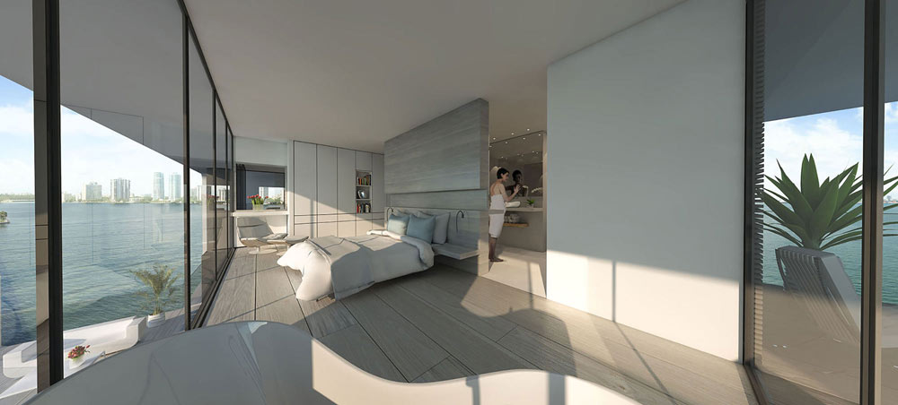the luxury master bedroom of the floating house