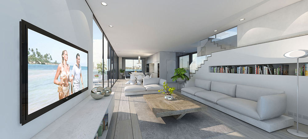 the spacious living room of the floating house